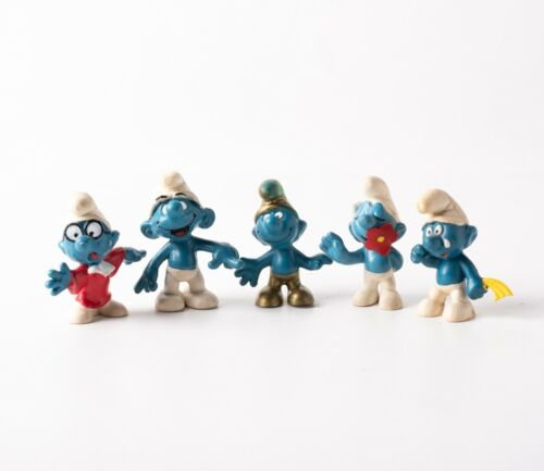 Lot of 5 Vintage Smurf Figurines 1965 -1972 Peyo Schleich Collectibles