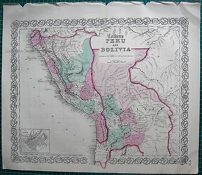 1855 LARGE ANTIQUE MAP-COLTON- PERU AND BOLIVIA