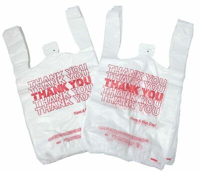 New 100 Ct Plastic Shopping Bags T-shirt Style Grocery White V-small Size Bags.