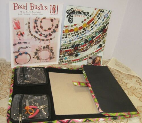 Jewelry making organizer, mat & bead instruction books lot - EC