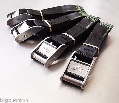 4-pack Black 1.0m x 25mm Cam Buckle Endless Lashing 400kg; Cargo Straps