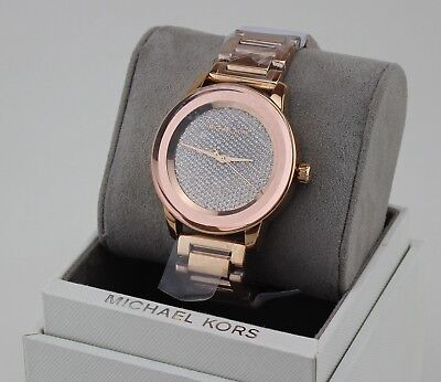 NEW AUTHENTIC MICHAEL KORS KINLEY SABLE ROSE GOLD CRYSTALS WOMENS MK6210 WATCH