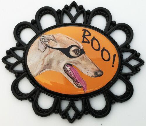 Halloween Greyhound Dog Brooch Pin