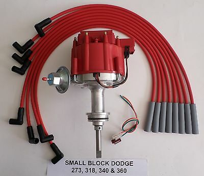 DODGE SMALL BLOCK 1964-89 273-318-340-360 HEI DISTRIBUTOR & RED Spark Plug Wires