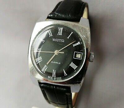 Vintage Men's Wrist Mechanical Soviet Watch Vostok 2214 black dial