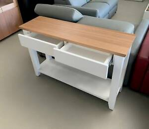 Factory Direct [Tasmanian Oak] 1.2M White Console Hall Table 2 Drawers