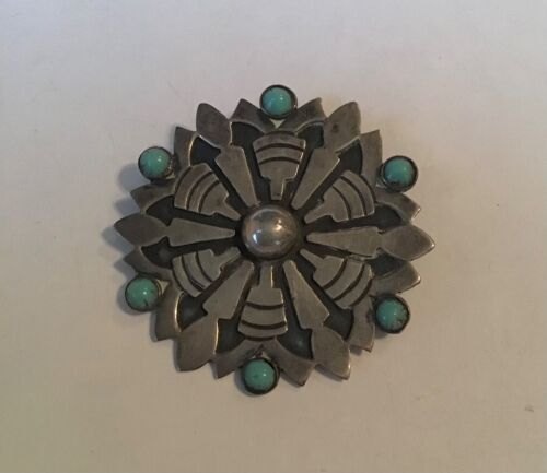 Vtg TALLERES DE LOS BALLESTEROS MEXICO Signed #42  STER. SILVER TURQUOISE BROOCH