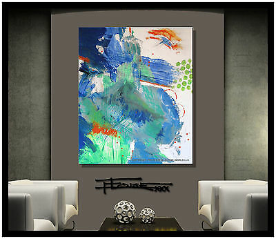 ABSTRACT PAINTING Modern Canvas Wall Art Listed by Artist Signed USA ELOISExxx