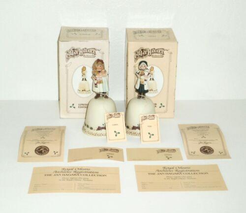 Vintage 1986 Jan Hagara CAROL & NOEL CHRISTMAS BELLS (2) Ltd Ed *Mint In Box