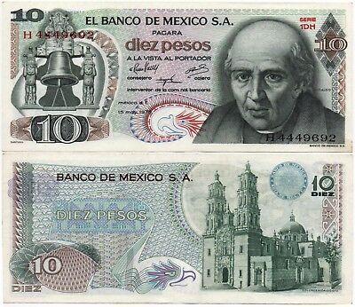 Mexico Banknote 10 Pesos AU UNC CRISP Paper Money - Mix Year - FREE SHIPPING