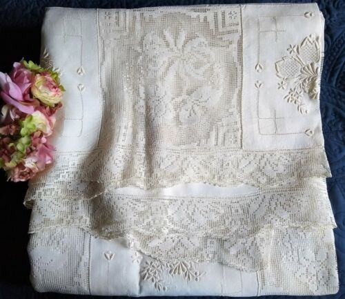 """ANTIQUE/VINTAGE H M ARMY/NAVY EMBROIDERED LINEN/LACE BANQUET CLOTH~105"""" x 72"""""""