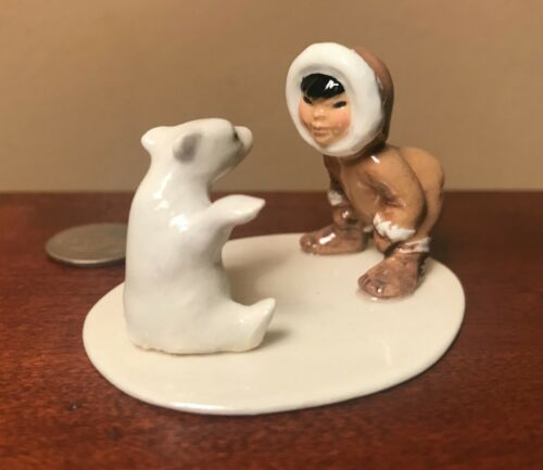 RETIRED Hagen-Renaker Mini #94529 ESKIMO WITH POLAR BEAR CUB SET - Ceramic Piece