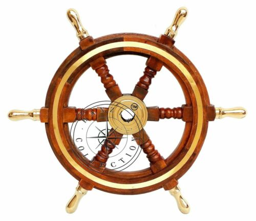 """24"""" Nautical Brass Ring Wooden Boat Ship Steering Wheel Vintage Home Wall Decor"""