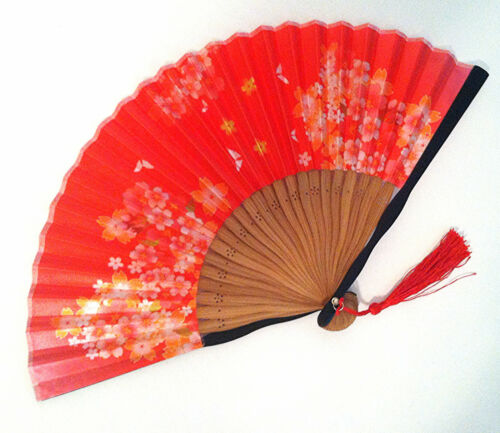 Chinese Japanese Hand Fan with Printed Cherry blossom and Butterfly Red Color