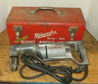 Vintage Milwaukee Heavy Duty Right Angle Drill Model 1100-1 2870-1 Adapter