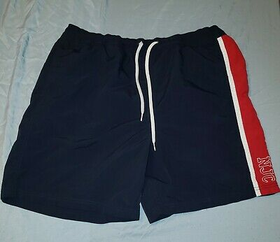 Nautica Jeans Co Swim Trunks Men's XXL  Navy Blue Red Lined