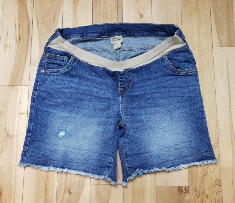 Indigo Blue Maternity Factory Frayed Medium  Distressed Jean Shorts Size M.  (D)