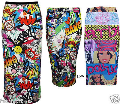 LADIES COMIC BARBIE DOLL PRINT STRETCH BODYCON PENCIL WOMENS SKIRT 8 14