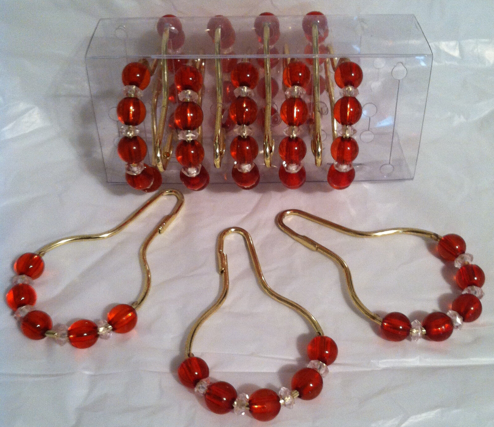 ... Beads Color: Red/Gold Pattern: Crystal Like Beads 12 Curtain Hooks