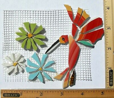 Red Hummingbird & Flowers Mosaic Tile Broken Cut China Plate Tile