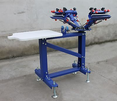 Used 4 Color 1station Screen Printing Machine Micro-adjust Press Printer