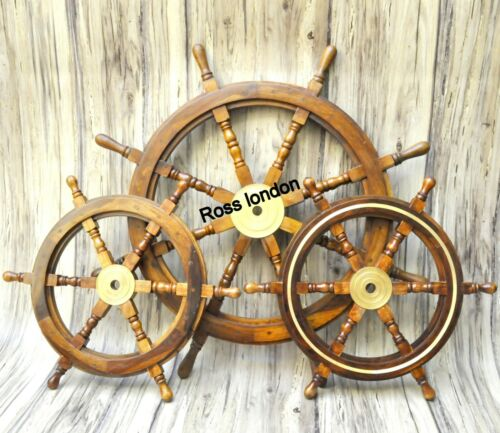 """Set Of 3 Nautical 24"""" & 36"""" Wooden Ship Wheel Pirate Ring Captain Boat Steering"""