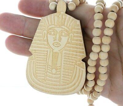 - Large Wooden Pharaoh King Tu Pendant Hip Hop Bead Necklace 3-1/2