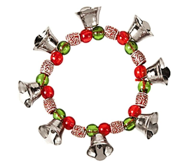 12 Jingle Bell Charm Stretch Bracelets Christmas Party Supplies Favors