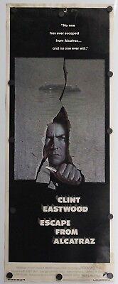 """Escape From Alcatraz 1979  Original Movie Poster Insert 14"""" x 36"""""""
