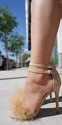 Nude High Cut (NUDE FUR LACE UP HIGH HEELS STILETTO FASHION SINGLE SOLE NEW HOT CUT OUT 10)