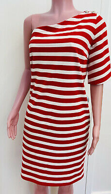 Lauren Ralph Lauren Red & White Striped One Shoulder Cotton Summer Dress Medium