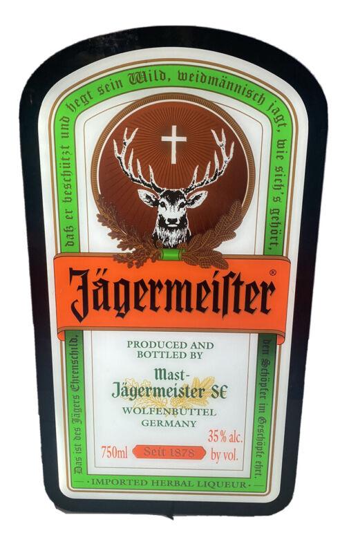 Jagermeister Light Up Wall Mountable Neon Bar Sign Bottle Label Flat Screen new