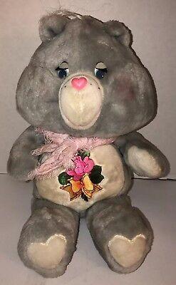 "Vintage GRAMS CARE BEAR w/ Shawl 1983 Gray 15"" Plush Stuffed ORIGINAL Heart Mark"