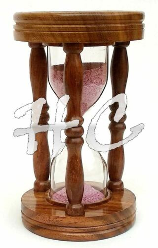 Brass Sand Timer With Natural Wooden Finish Marine Nautical Desk Decor Hourglass