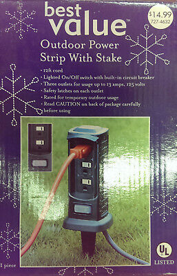 Power Stake Strip Cord Outdoor Lighting Outlet or Power Tools for Garden Lawn
