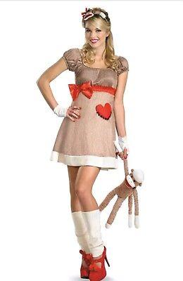 Women's Halloween SOCK MONKEY Costume Deluxe Adult Costume Size L Large - Adult Sock Monkey Costume