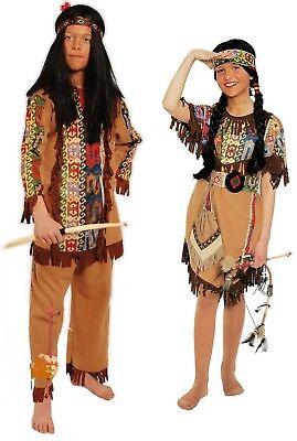 SQUAW Indianerin Kinder Mädchen Kostüm Indianer Häuptling Jungen Kostüm (Kinder Indianer Junge Kostüm)