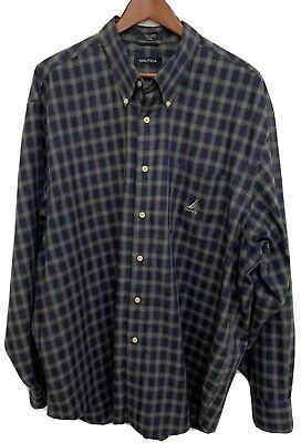 Nautica Mens Shirt 2XL Checkered Long Sleeve Button Down 100% Cotton