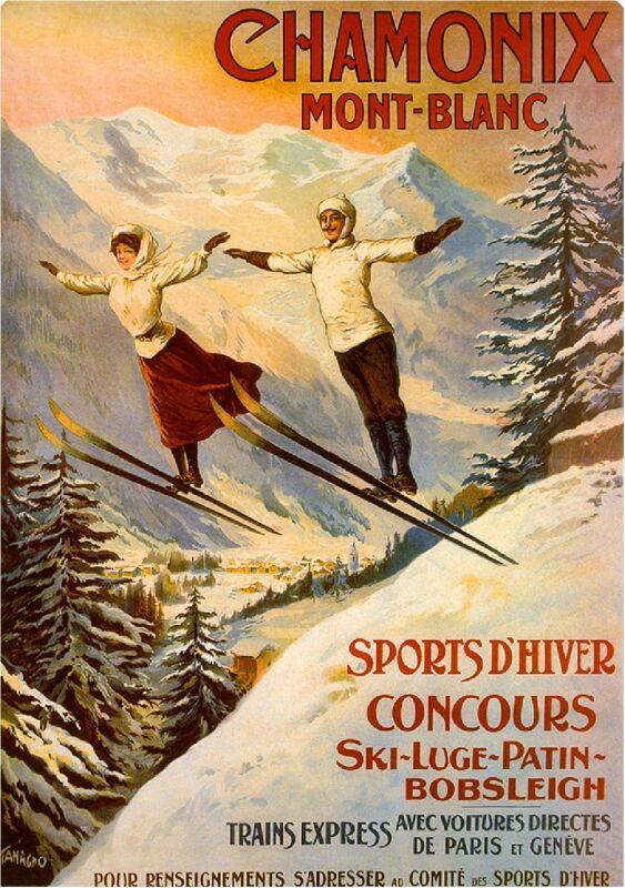 Chamonix Mont-Blanc Paris et Geneve Vintage Travel Art Advertisement Poster