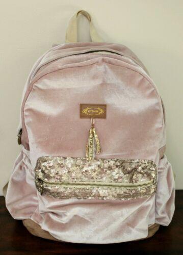 Joyfolie PINK VELOUR BACKPACK Girls Large Bag Adjustable Straps Gold Sequins