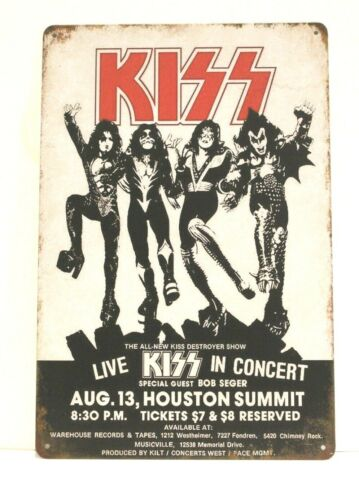 New Kiss Live in Concert Tin Poster Sign Vintage Rustic Look Destroyer Tour