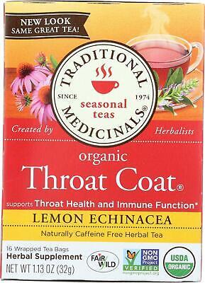 Organic Throat Coat Lemon Echinacea Herbal Tea - Caffeine Free (1 - 16 BAG)