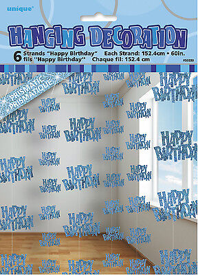 Blue Glitz Happy Birthday Hanging Decorations - Suits Any Age - New & Sealed ()