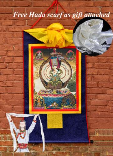 "BROCADE BLESSED 32""TIBET THANGKA TAPESTRY: BUDDHA TRANS WHITE UMBRELLA DHARANI"