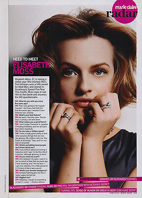 Elisabeth Moss  Mad Men  1Pg Marie Claire Magazine Feature  Clippings