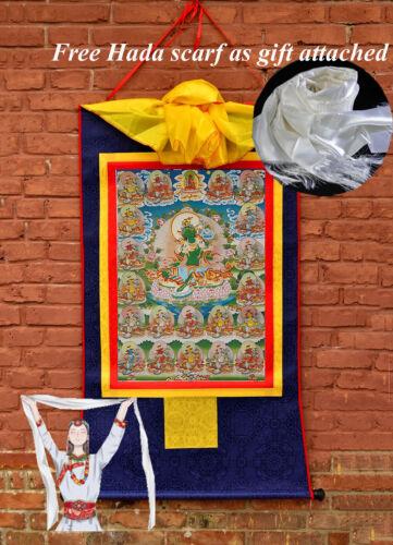 """24"""" BROCADED BLESSED GOLDEN WOOD SCROLL TIBETAN THANGKA: ALL BLESSING 21 TARAS ="""