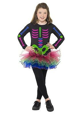 Girls Neon Skeleton Costume Rainbow Dress & Tutu Halloween Bones Child Kids NEW