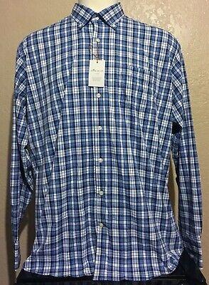 - NEW Peter Millar Crown Sport Summer Comfort Mens XL Blue Check Long Sleeve Shirt