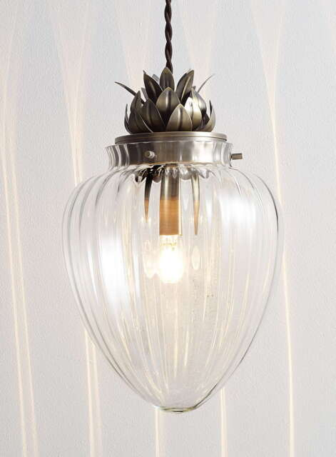 Modern glass antique brass pineapple ceiling pendant light modern glass antique brass pineapple ceiling pendant light fitting bhs janna aloadofball Image collections