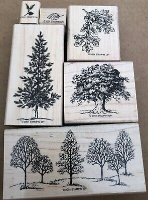 Stampin Up Rubber Stamp Set LOVELY AS A TREE - Leaves,Pine,Oak,Acorn,Retired